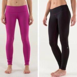 Lululemon black and pink reversible leggings 8